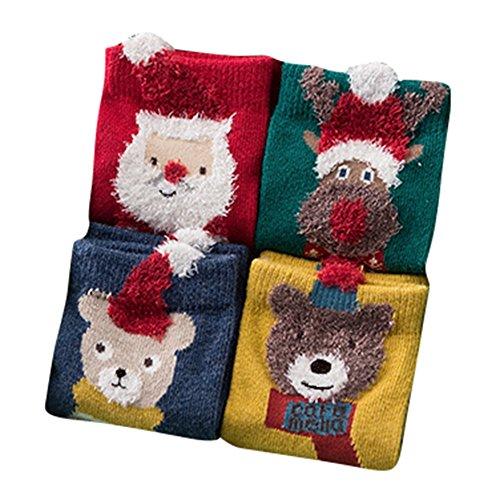 4 Paia di Bambini Baby Calzini - Accoglienti Calze Del Fumetto Di Natale Cotone