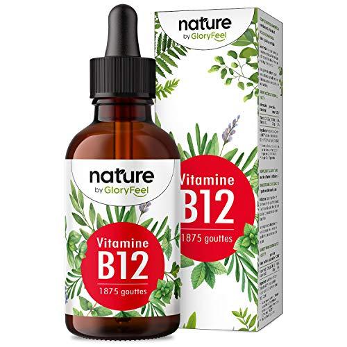 Vitamine B12 Gouttes, 75ml 1875 Gouttes, Vitamine B12 Vegan, Vitamin B12 Liquide, 2 Formes de B12 Methylcobalamine & Adenosylcobalamine, Absorption Efficace, Sans Alcool