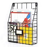 Larger Wall Mounted File Holder Hanging Mesh Metal Basket Wire Shelf Office Mail Magazines Organizer Kitchen Pantry Stuff Storage with Name Tag Slot