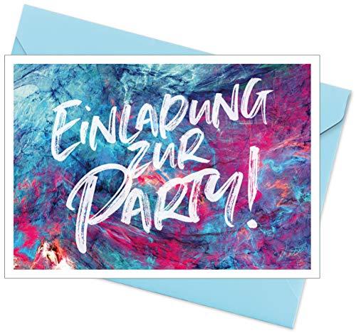 FRUITPRINTS CherryCards - 8er Set Einladungskarten & Umschläge - Einladung Teenager Kindergeburstag - Format A6 (Einladung zur Party)
