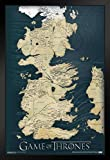 Pyramid America Game of Thrones Westeros Map HBO Fantasy Drama TV Television Series Show Black Wood Framed Art Poster 14x20