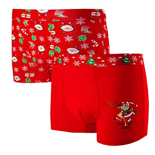 Bongual 2-4 Geschenkidee Herren Retroshorts Unterhose Baumwolle Weihnachten Motive Witz (2xSanta-Mix, XL)
