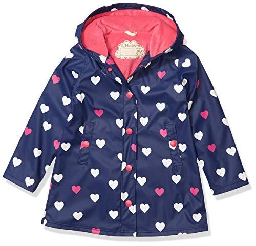 Hatley Mädchen Splash Jackets Regenjacke, Blau (Farbwechsel gestreifte Herzen 400), 6 Jahre