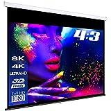 ESMART Professional MIROLO Rollo-Leinwand [Größenauswahl] 244 x 183 cm (120') 4:3 | Heimkino Beamer Projektionsleinwand Rollo Leinwand LCD LED
