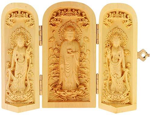 Sakyamuni Buddha Statuen mit 2 Kwan Yin Figuren, Buchsbaum Zen Buddhismus Ornamente, handgeschnitzte hölzerne buddhistische Skulpturen chinesische Feng Shui Geschenke