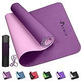 ROMIX Yoga Mat, Tappetino Yoga Fitness in TPE Bifacciale Spesso 6MM con Borsa e Tracolla, Tappetino Esercizi Antiscivolo Ecologico per Uomo Donna Home Gym Pilates Meditation Stretching - Purple