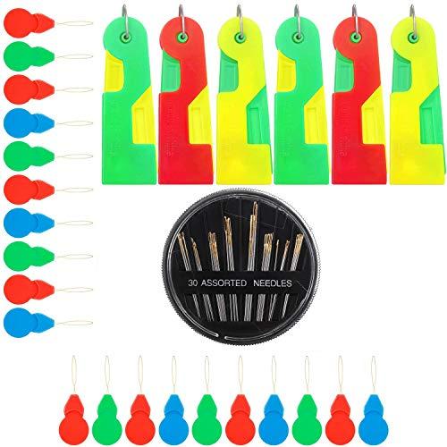 Enhebrador Aguja,20 piezas Enhebrador de Agujas Maquinas Hilos de Coser para maquina de coser para bordar, punto de cruz, costura a mano