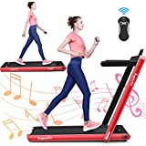 GYMAX 2 in 1 Under Desk Treadmill, 2.25HP Folding Walking Jogging Machine with Dual Display, Bluetooth Speaker & Remote Controller, Electric Motorized Treadmill for Home/Gym (Red)