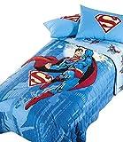Caleffi Quilt Tagesdecke Superman Energy hellblau Einzelbett 170 x 265 cm ohne Bettlaken & Zubehör