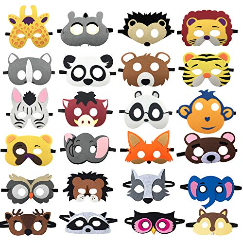 SSZS 24pcs Forest Friends Felt Animal Masks Cosplay Halloween Masks Dress-Up Party Favors Mask for Birthday Gifts for Kids