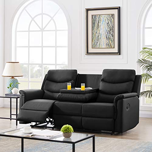 Pannow Double Recliner Loveseat with Console Slate, Double Reclining Sofa with Cup Holder, 3-Seater with Flipped Middle BACKREST Black PU, Theater Seating Furniture Sofa Bed, Black PU