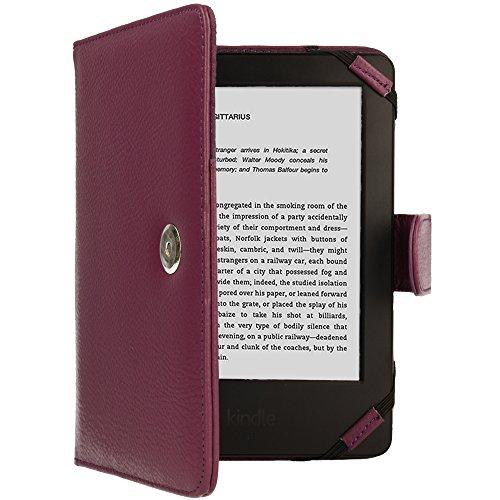 TECHGEAR Púrpura Kindle Funda de Cuero PU con Cierre magnético Carcasa para Amazon Kindle eReader y Kindle Paperwhite con Pantalla de 6 Pulgadas [Estilo de Libro] con Protector de Pantalla Incluido