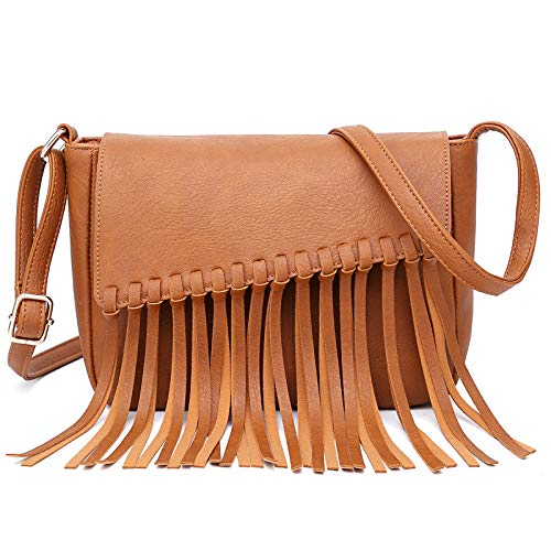 Crossbody Bags for Women Shoulder Bag Tassel Bag Soft PU Leather Lightweight Purse
