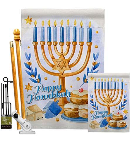 Angeleno Heritage Jewish Festival Garden House Flag Kit Winter Hanukkah Candle Bonsai Menorah Chanukah David Decoration Banner Small Yard Gift Double-Sided, 1 x 1 x, Thick Fabric