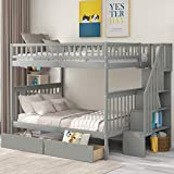 Bunk Beds Full Over Full Size, Solid Wood Full Bunk Beds with Drawers and Stairway, Full Length Guardrail, No Box Spring Needed (Grey Full Over Full Bunk Beds)