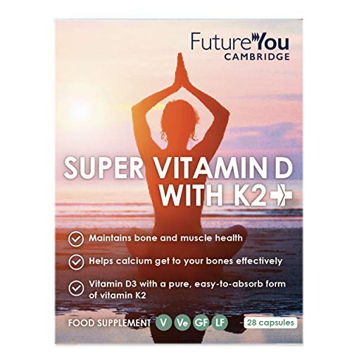 Super Vitamin D with K2+ MK-7 (Menaquinone-7) - High Strength 180µg K2 and 1,000 IU D3 Vegan Suitable Supplement - 28 Day Supply - Developed by FutureYou Cambridge, UK