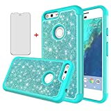 Phone Case for Google Pixel 1 2016 5 inch with Tempered Glass Screen Protector Cover Film Cell Accessories Bling Glitter Slim Full Body Rubber Shockproof Protective Pixle One Women Girls Green Teal