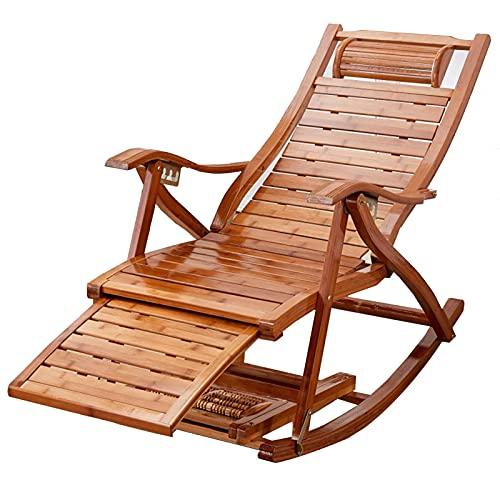 AWCPP Faltende Sun-Lounger Einstellbarer Bambus-Schaukelstuhl, Mit Baumwollkissen Und Einziehbarer Fußstütze, Tragbarer Garten Im Freien Garten Swimmingpools Freizeitstuhl, Ladung 200Kg,Stuhl