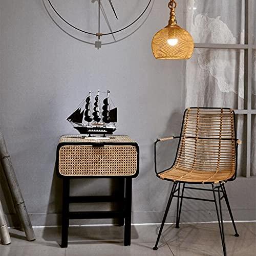 LIANG Mesita de noche de ratán con cajones, escritorio de efecto de madera de fresno – mesa de café para el hogar, oficina, dormitorio, sala de estar, pasillo (color: 03)