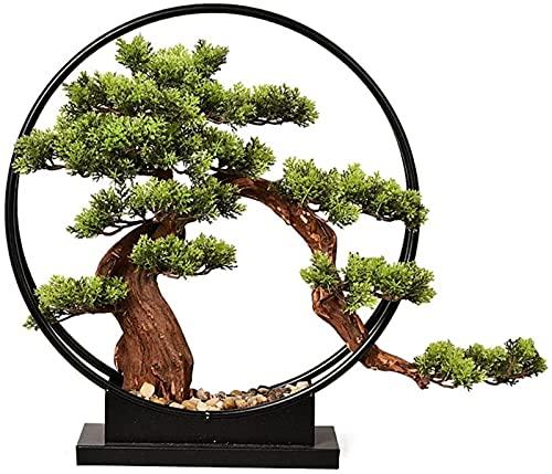 Bonsai artificial de la planta de la simulación del hierro del árbol de pino que da la bienvenida, decoración del escritorio de la planta en maceta falsa para el gabinete del vino de la oficina en cas