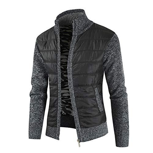 ZCZH Men's Knit Jacket Long Sleeve Casual Ribbing Stand-up Collar Jacket...