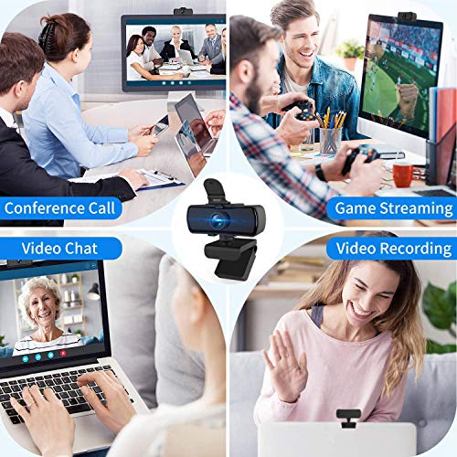 Webcam mit Mikrofon,2K HD Webcam mit Abdeckung & Autofokus,USB 2.0 Plug&Play Kamera für Desktop und Laptop Video Konferenzen,Online-Unterricht und Live-Streaming,Kompatibel mit Windows,Linux und MacOS