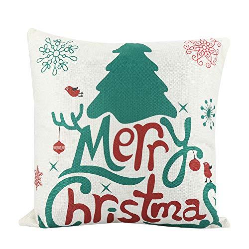 Socialme-EU 18x18 Pulgadas Funda de Almohada de Navidad Lino Papá Noel Muñeco de Nieve Reno de Arbol de Navidad Funda de Cojín de Almohada (# 14)