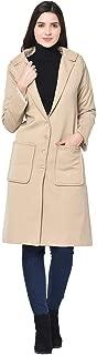 Trendif Women's Beige Polyester Twill Moss Winter Overcoat (3605)
