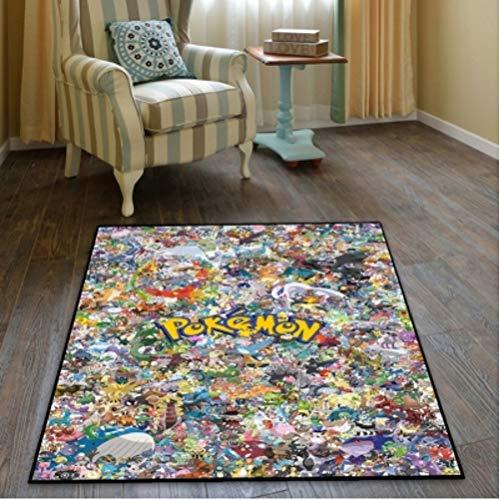 chengcheng Pokémon Cartoon Anime Teppich Pokemon Pikachu Hängender Korb Quadratischer Teppich Computer Stuhl Matte100x100cm