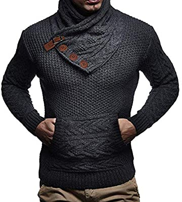 Mens Turtleneck Pullover Sweater Chunky Fall Cable Knit Button Up Slim Fit Vintage Winter Outdoors by