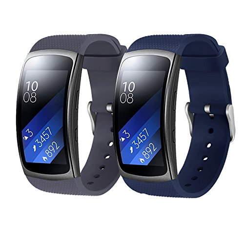 Rukoy Cinghie Samsung Gear Fit 2 Band/Gear Fit 2 Pro [2-Pack: Blu + Grigio], Bands di ricambio Accessori per Samsung Gear Fit2 Pro SM-R365/Gear Fit2 SM-R360 Smartwatch (5.9'-7.5')