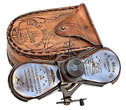 Columbus náutico latón Marino Binocular espía Vintage de cristal R & J Beck Londres 1857Monocular Telescopio