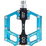 CNC Pedales de Bicicleta Aluminio Plataforma del pedal de la bici para el MTB, Carreras, BMX con Sealed los cojinetes pedal para bicicleta soporte de pedal 9/16 '(Set de 2) (Azul)