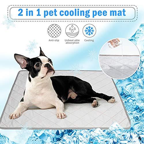 NIBESSER Hundematte Kühlmatte für Hunde & Waschbare Pee Pad für Hunde Selbst Kühlende Hundematte Sommer Wiederverwendbare, Saugfähige, rutschfeste