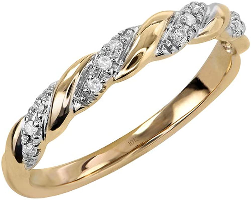 Brilliant Expressions 10K Yellow, Rose or White Gold 0.06 Cttw Diamond-Accented Twist Anniversary or Wedding Band in White (I-J, I2-I3) or Black Diamonds