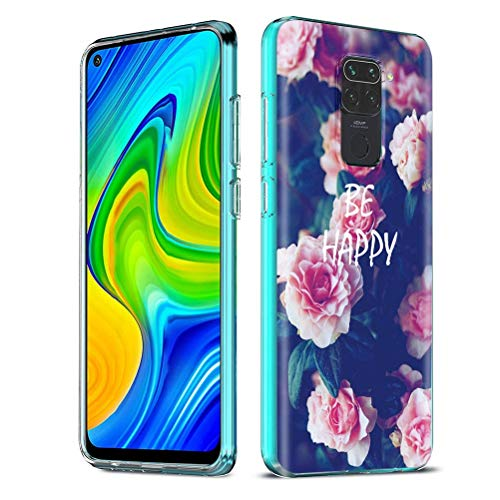 Yoedge Funda para Xiaomi Redmi Note 9 4G, Cárcasa Silicona Transparente con Dibujos Antigolpes Animados Suave Diseño Patrón Mármol TPU Bumper Case Movil para Redmi Note 9 / 10X 4G (Flores Rosadas)