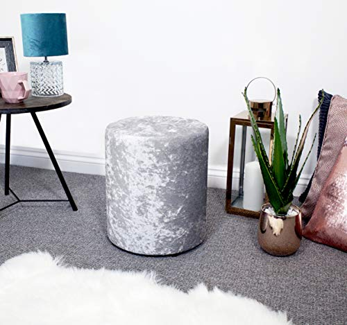 UK Home Accessories Dressing table stool/Dressing Table Seat - silver crushed velvet with diamante gem chesterfield details. Perfect for bedrooms or as a footrest/pouffe/footstool in living rooms.
