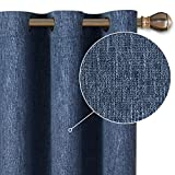 LORDTEX Burlap Linen Look Textured Blackout Curtains for Bedroom with Thermal Insulated Liner - Heavy Thick Grommet Window Drapes for Living Room, 40 x 63Inch, Blue, Set of 2 Panels
