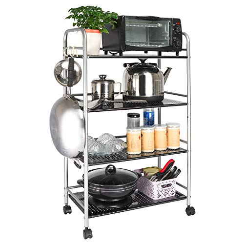 4 Tier Utility Cart Sturdy Microwave Storage Shelving Unit Rack Organizer Shelves Rolling Cart for Kitchen Bathroom Commercial with Wheels Silver