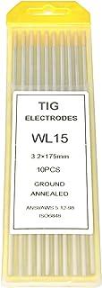 10 unidades electrodos soldadura para torcha TIG de 1,6 2,4 mm Dimensiones: 1,6 x 175 mm ELCAN Tungstenos soldadura TIG Lantano 1,5/% Oro Dorado WL15 profesional