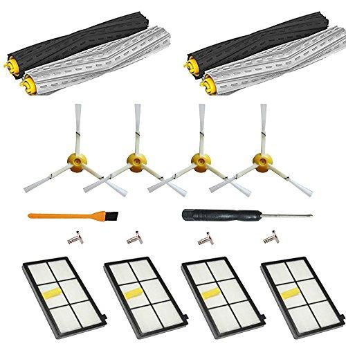18pcs Filtre et Brosse Kit Accessoires Rechange pour Roomba 980 866 896 886 880 - Kit d'entretien Pièces pour iRobot Roomba Aspirateur 800/900 Séries