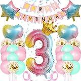 Unisun Decoraciones para 3er cumpleaños, 100 cm, tamaño grande, globo de helio digital con corona de corazón, confeti, globo de feliz cumpleaños para niñas y niños, suministros de fiesta de bebé