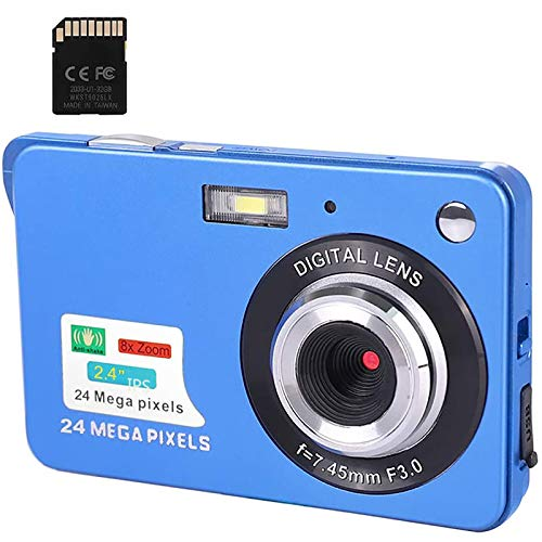 Cámara digital, 2.4 pulgadas FHD cámaras de bolsillo recargable 24MP cámara para mochileros con zoom digital 8X cámaras compactas para fotografía, tarjeta SD de 32 GB incluida