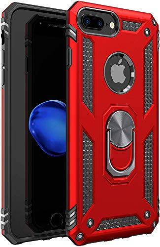 Amuoc Compatible with iPhone 6 Plus Case, iPhone 6S Plus Case [ Military Grade ] 15ft. Drop Tested Protective Kickstand Case 5.5-Inch - Red