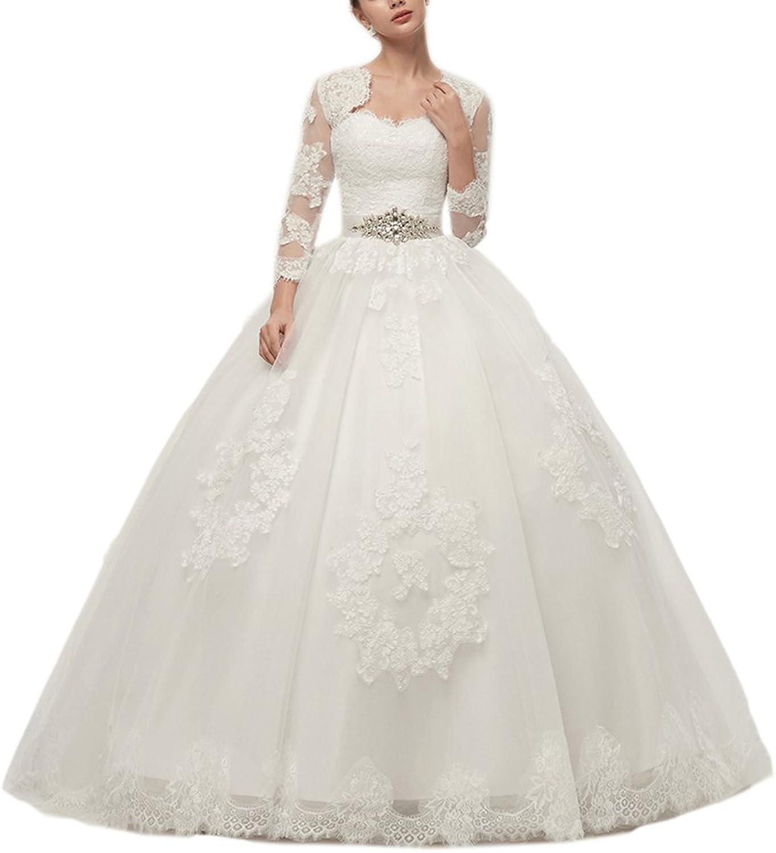 Engerla Women's Sweetheart Beaded Long Applique Wedding Dress with Cape