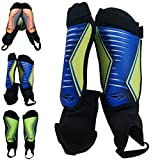 Rawxy Football Soccer Shin Guards with Exceptional Flexible Soft Light Weight - Great for Boys Girls Junior Youth(Blue Yellow, S&M)