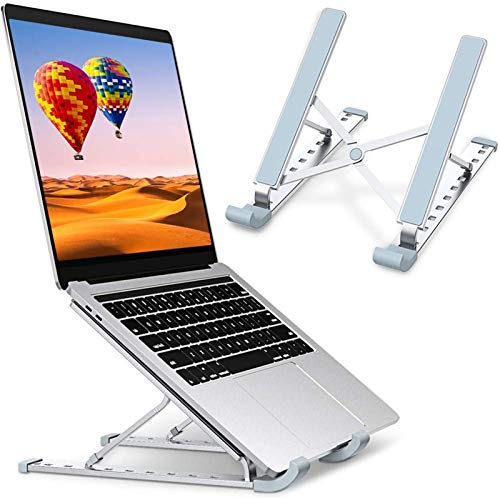 "HENGQI Laptop Stand, Laptop Holder Riser Computer Stand, Aluminum 9-Angles Adjustable Ventilated Cooling Notebook Stand Mount Compatible with MacBook Air Pro, Lenovo, Dell, More 10-15.6"" Laptops"