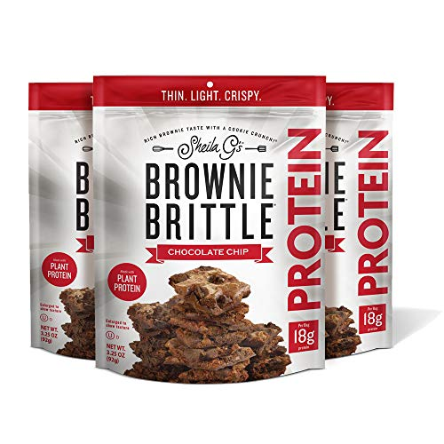 Sheila G's Brownie Brittle Protein Chocolate Chip- Plant Based Protein Low Calorie Healthy, Sweets & Treats Dessert, Chocolate Sweet Thin Crispy Snack-Rich Brownie Taste w/ Cookie Crunch- 3.25oz, 3 Pk