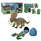 Styracosaurus Dinosaur Toy Sets, Realistic Roaring Jumbo Dinosaur & Dinosaur Puzzle & Dinosaur Egg 3 in 1 Toddler Toys Set for Kids Boys and Girls Age 3 and up Play, Education, Birthday