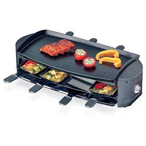 ROMMELSBACHER RC 1200 Raclette-Grill Ottimo (8 Personen, hochwertige Antihaftbeschichtung, Parkdeck, stufenlose Temperaturregelung, 1200 W) schwarz/Edelstahl